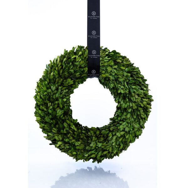 Boxwood Wreath with Grosgrain Sash Preserved Boxwood Buxus Stems
