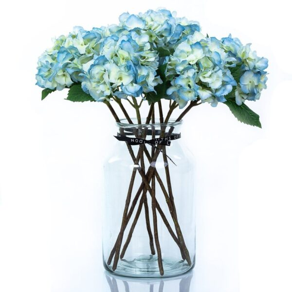 Artificial Flower Blue Hydrangea Large Bouquet in Vase