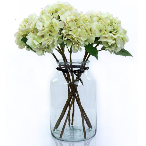 Artificial Flower Green Hydrangea Large Bouquet in Vase