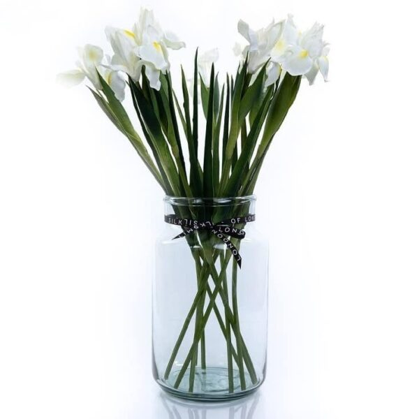 Artificial Flower White Iris Bouquet in a Vase