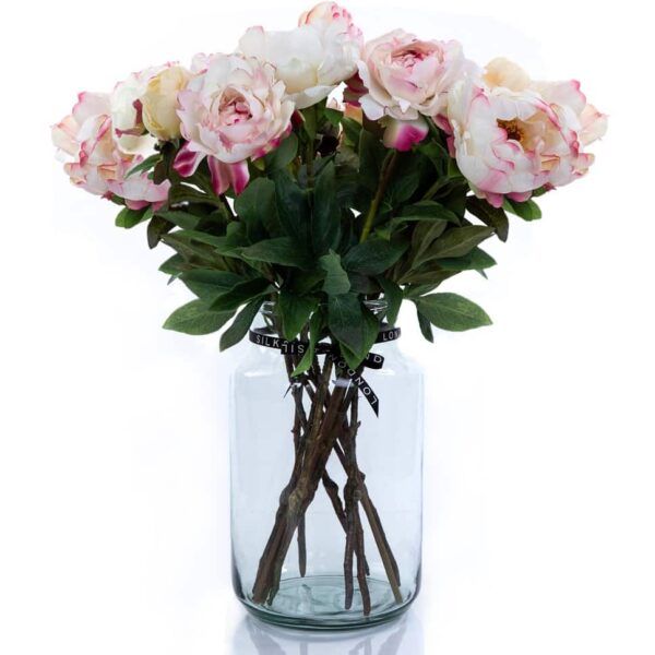 Artificial Flowers White Peony Bouquet in a Vase